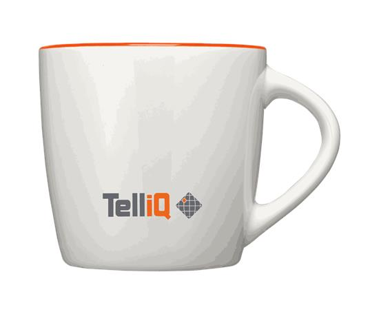 Aztec 340ml mugg - TelliQ med tryck Vit/Orange