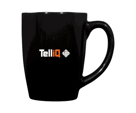 Mendi 350 ml keramisk mugg - TelliQ med tryck Svart