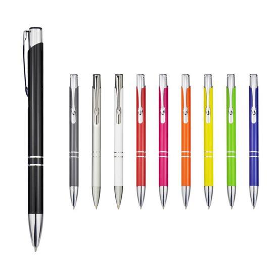 Penna Moneta aluminium, blått bläck med tryck Svart