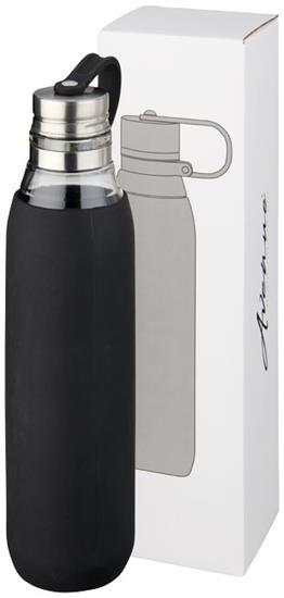 Glasflaska Oasis 650 ml med tryck Svart