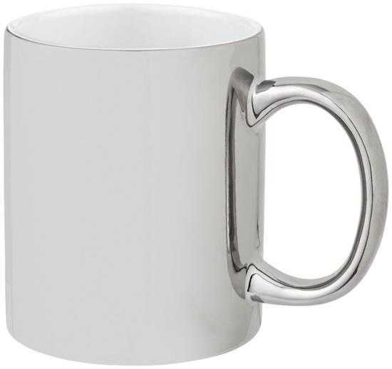 Keramikmugg Gleam 350 ml med tryck Silver