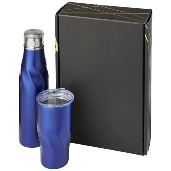 Termosflaska Hugo presentförpackning med tryck Blå