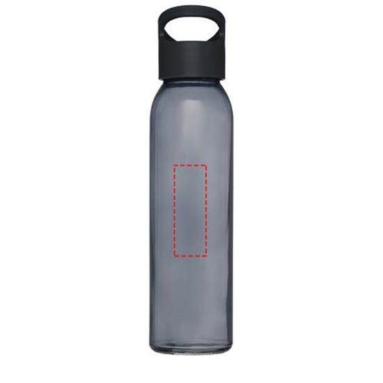 Glasflaska Sky 500 ml med tryck Svart