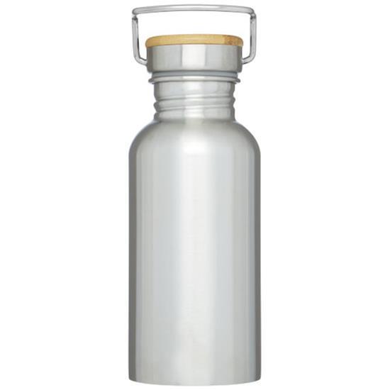 Metallflaska Thor 550 ml med tryck Silver