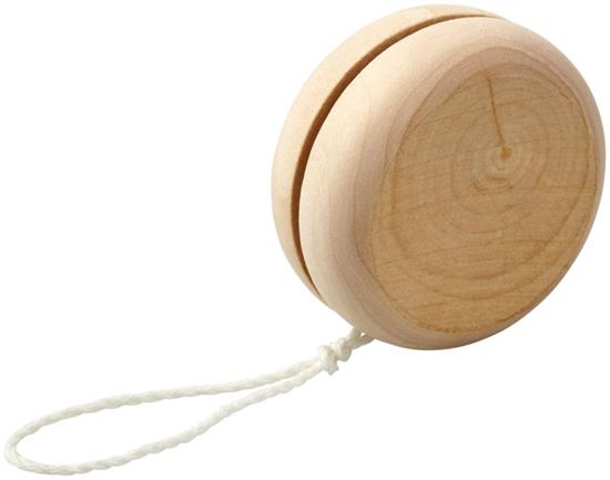 Woody jojo i trä med tryck Naturvit
