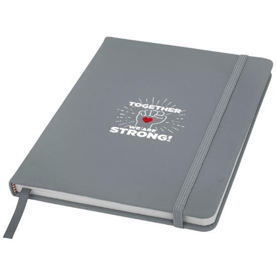 Anteckningsbok Spectrum A5 linjerade sidor med tryck Silver