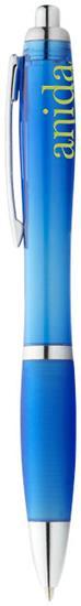 Penna Nash, blått bläck med tryck Aquablå