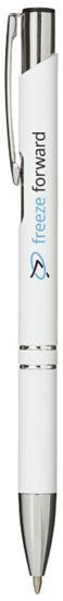 Penna Moneta aluminium, blått bläck med tryck Vit