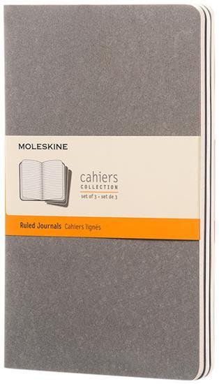 Moleskine Cahier Journal L – linjerad med tryck Grå