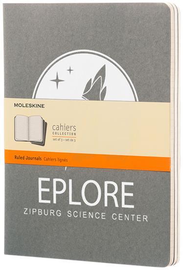 Moleskine Cahier Journal XL – linjerad med tryck Grå