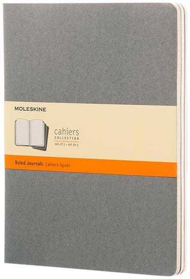 Cahier dagbok XL – linjerad med tryck Grå