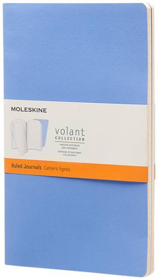 Moleskine Volant Journal L – linjerad med tryck Ljusblå