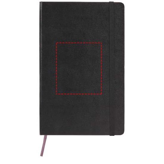 Classic L inbunden anteckningsbok – rutat med tryck Svart