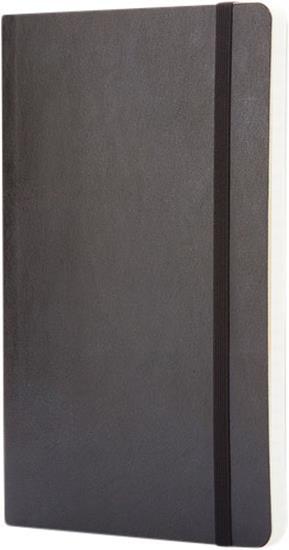 Classic L anteckningsbok med mjukt omslag – rutat med tryck Svart