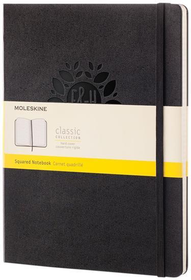 Moleskine Classic XL av inbunden anteckningsbok – rutat med tryck Svart