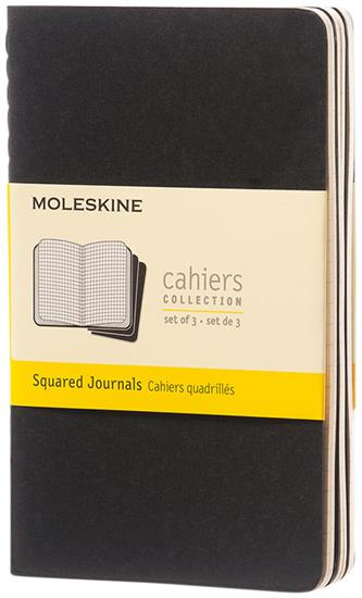 Moleskine Cahier dagbok PK – rutat med tryck Svart
