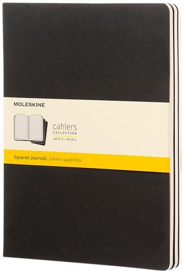 Cahier dagbok XL – rutat med tryck Svart
