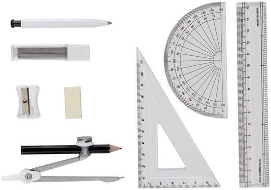 Geometri-set Skola Julia 9 delar med tryck Vit