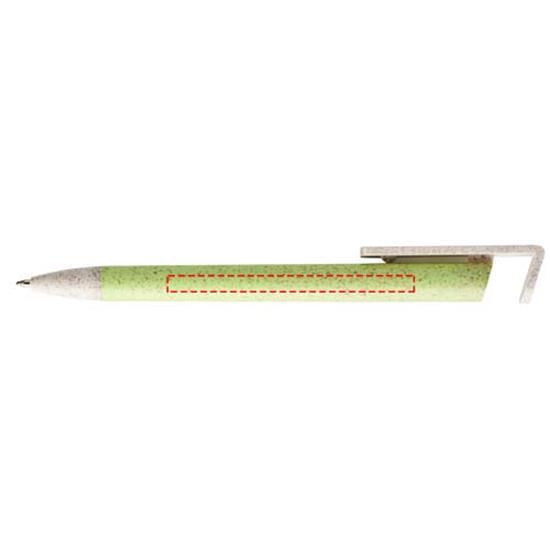 Penna Medan i halm, blått bläck med tryck Grön