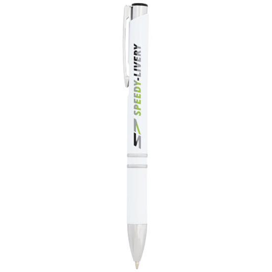 Penna Moneta antibakteriell, blått bläck med tryck Vit