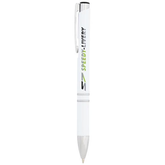 Penna Moneta antibakteriell, svart bläck med tryck Vit