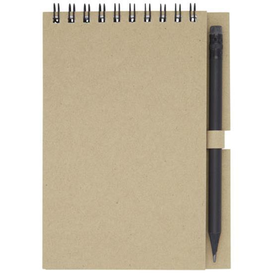 Anteckningsbok Luciano Eco med spiral och penna - liten med tryck Naturvit
