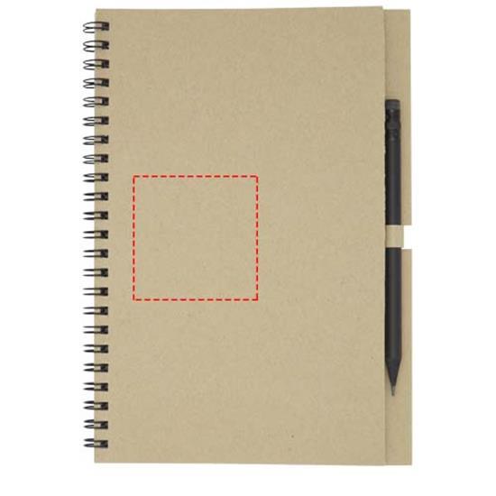 Anteckningsbok Luciano Eco med spiral och penna - medium med tryck Naturvit