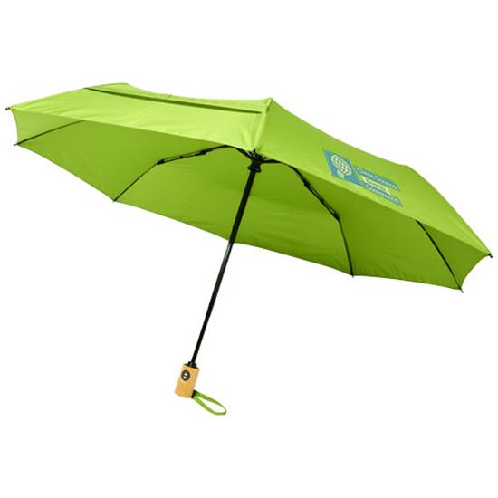 "Bo 21"" hopfällbart paraply rPET med tryck Limegrön"