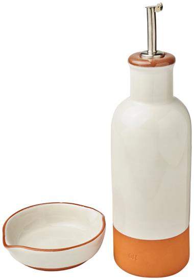 Terracotta set med dressingflaska och dippskål med tryck Orange