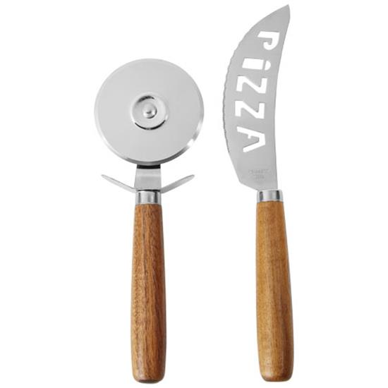 Pizzaset Reze 2-delars  med tryck Naturvit