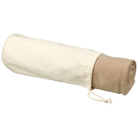 Filt Aira rPET med bomullspåse med tryck Naturvit