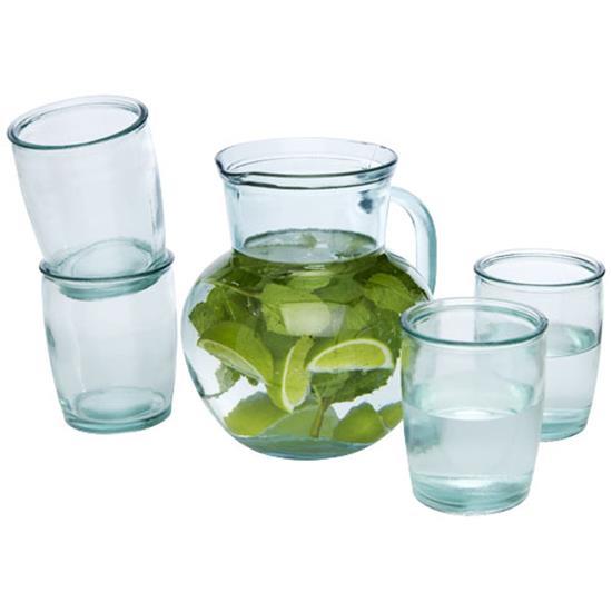 Glas-set Terazza 5-delars i återvunnet glas med tryck Vit