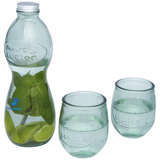 Glas-set Terazza 3-delars i återvunnet glas med tryck Vit