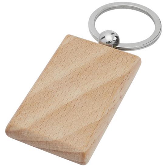 Nyckelring Gian rektangulär i bokträ med tryck Brons