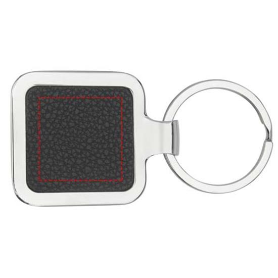 Nyckelring Piero kvadratisk i PU-läder med tryck Svart