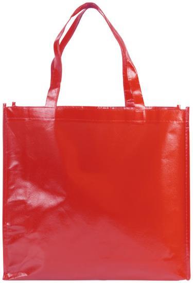 Shoppingkasse Shiny Non-Woven laminerad med tryck Röd