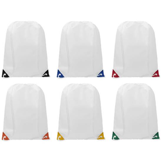 Gymnastikpåse Oriole med färgade hörn med tryck Vit/Gul
