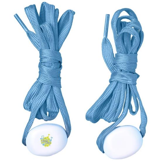 LED-skosnören LightsUp!  med tryck Ljusblå