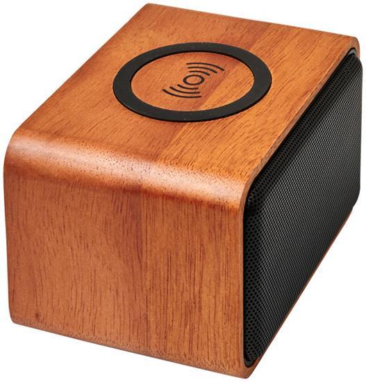 Högtalare Wooden 3W med trådlös laddningsplatta med tryck Brons