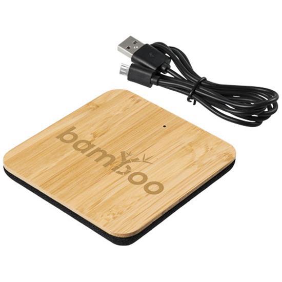 Trådlös laddare Leaf 5W i bambu och tyg med tryck Brun/Svart