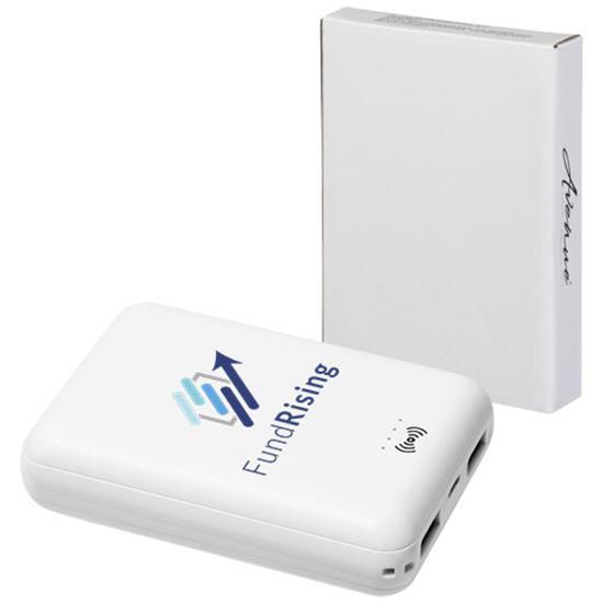 Powerbank Dense 5000 mAh trådlösladdning med tryck Vit