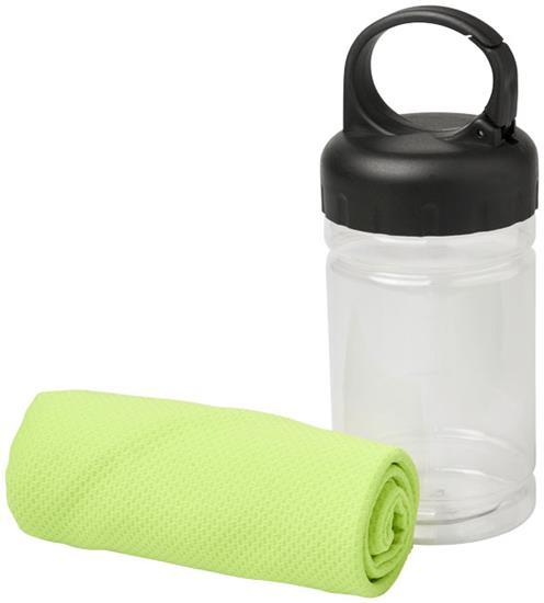 Sporthandduk Remy Cooling i PET-behållare med tryck Limegrön