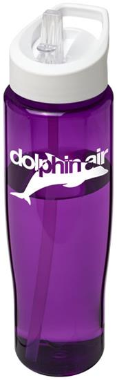 Sportflaska H2O Tempo® 700 ml rPET med piplock med tryck Lila/Vit