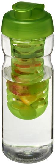 Sportflaska H2O Base® 650 ml rPET uppfällbart lock-fruktkolv med tryck Limegrön