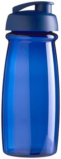 Sportflaska H2O Pulse® 600 ml rPET med uppfällbart lock med tryck Blå