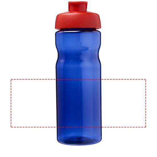 Sportflaska H2O 650 ml rPET med uppfällbart lock med tryck Kungsblå/Röd