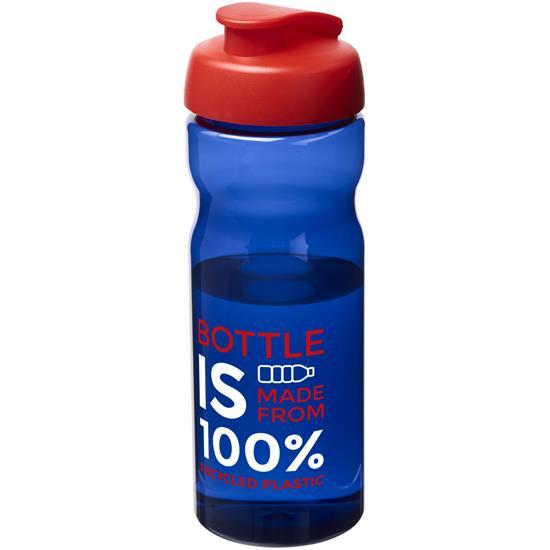 Sportflaska H2O 650 ml rPET med tryck Kungsblå/Röd