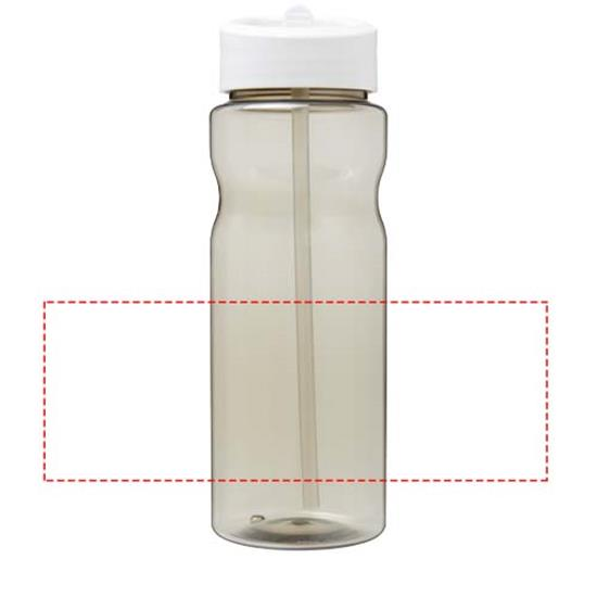 Sportflaska H2O 650 ml rPET med piplock med tryck Grå/Vit