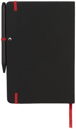 Anteckningsbok Noir Mellan med penna med tryck Svart/Röd