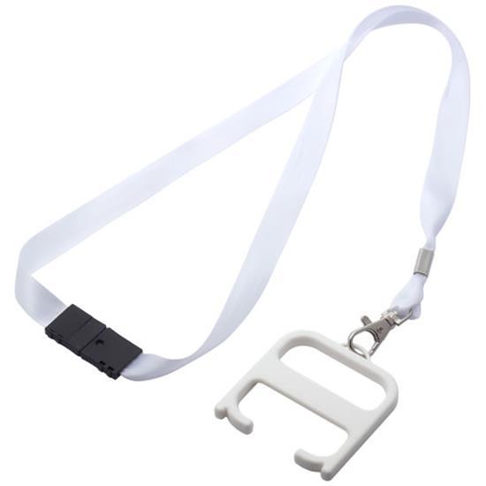 Hygiennyckel med nyckelband med tryck Vit